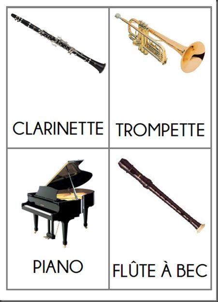 Flash cards: musical instruments