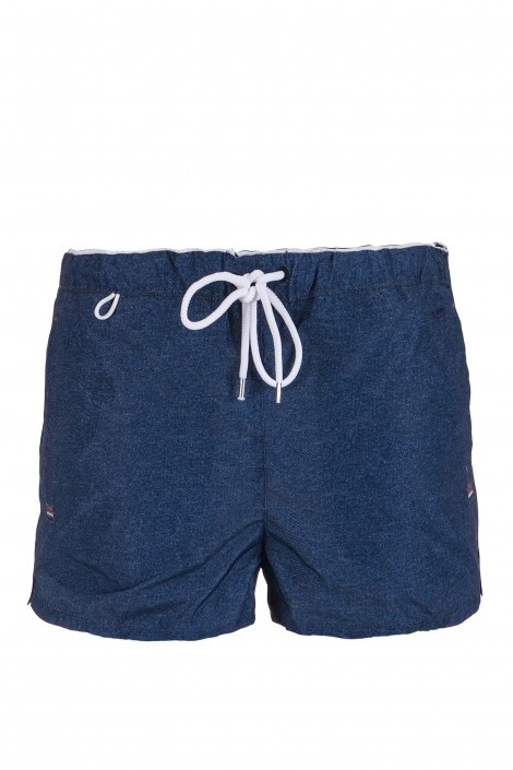 BRANDO BW - beachwear - Man - Short boxer shorts with waist sash, side welt pockets, back pocket with velcro, slits on bottom, embroidered logo. Colour: blue