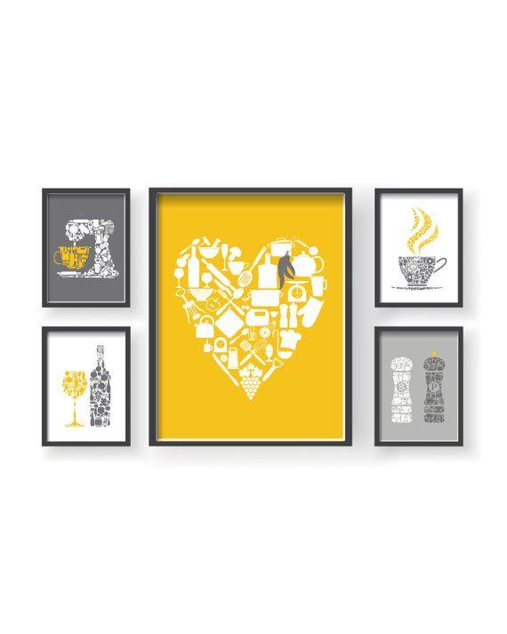 Mustard Yellow Gray Kitchen Wall Decor Kitchen Wall Art Etsy Yellow Kitchen Decor Grey Kitchen Walls Kitchen Wall Art