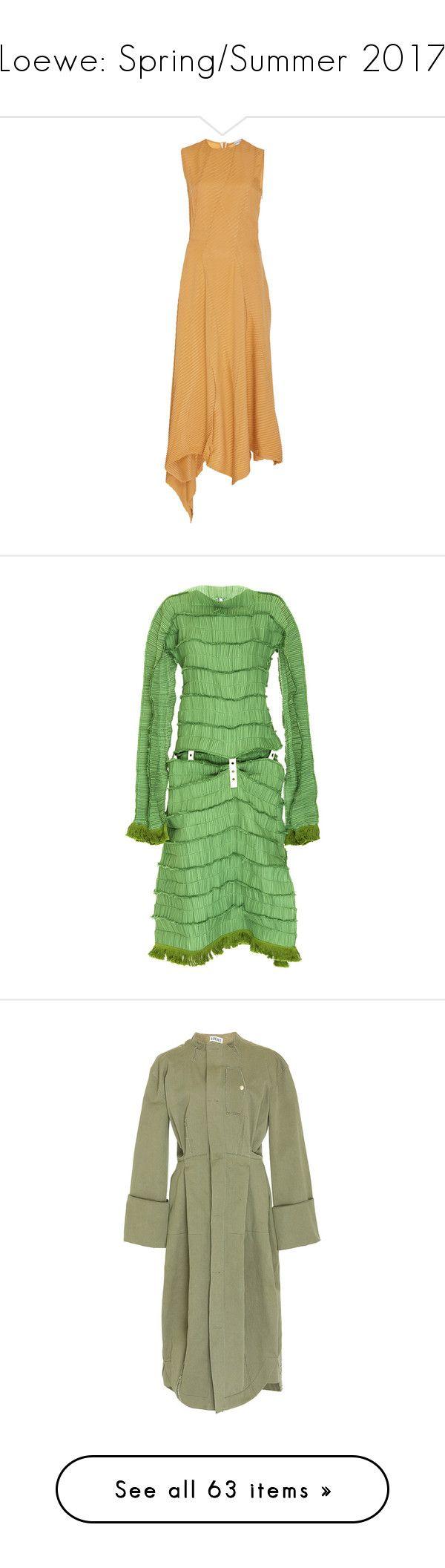 """Loewe: Spring/Summer 2017"" by livnd ❤ liked on Polyvore featuring loewe, springsummer2017, livndfashion, livndloewe, dresses, orange, beige dress, asymmetrical dresses, sleeveless asymmetrical dress and beige a line dress"