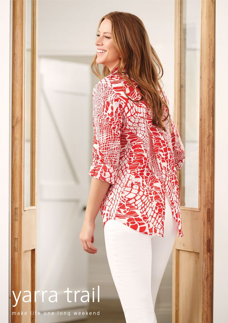 A unique and flattering design. The Petal Back Shirt in a Red and White Reptile Print is the shape of the season. The long sleeve shirt features a tab up to 3/4 length, collar with button thru and a scooped hemline perfect paired with our pull on pant and flats for the ultimate weekend styling. Shop Now http://www.yarratrail.com.au/shirts/f-l-tab-slv-petal-back-shirt-reptile-print-16s4775.html