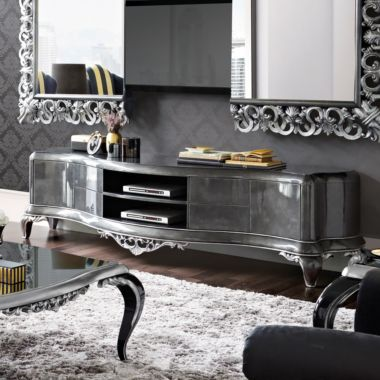 Luxury Black Silver TV Console