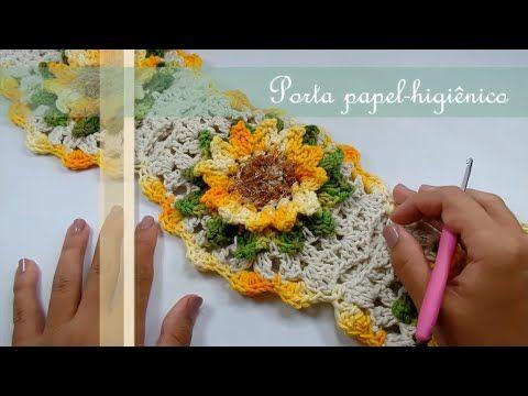 Passo a Passo Jogo de Banheiro Mega Girassol Barroco Porta papel-higiênico por JNY Crochê - YouTube