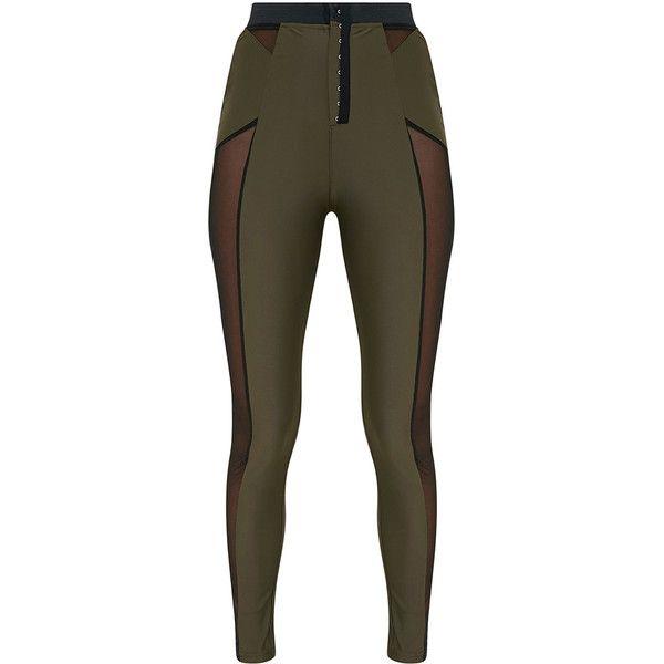 Safiya Khaki Hook And Eye Sheer Panelled Leggings ($40) ❤ liked on Polyvore featuring pants, leggings, khaki leggings, legging pants, brown khaki pants, brown pants and khaki trousers