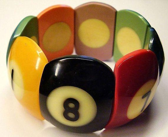 Vintage Bakelite billiard ball slice bracelet. #vintage #jewelry #bracelets