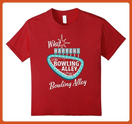 Kids Funny Retro Bowling What Happens at the Bowling Alley Vegas 10 Cranberry - Retro shirts (*Partner-Link)