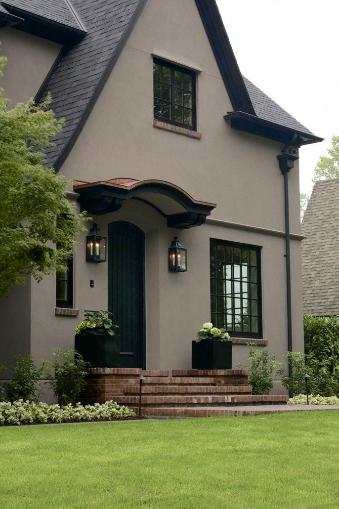 Clemson House Colors-Laurelhurst House Front Door - The body is color  Benjamin Moore Shenandoah Taupe. The trim is a warm black selected to blend   ...