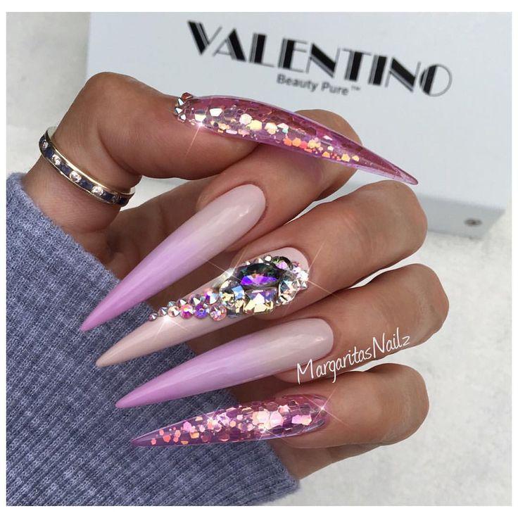 ✨✨ long stiletto nails color ombré