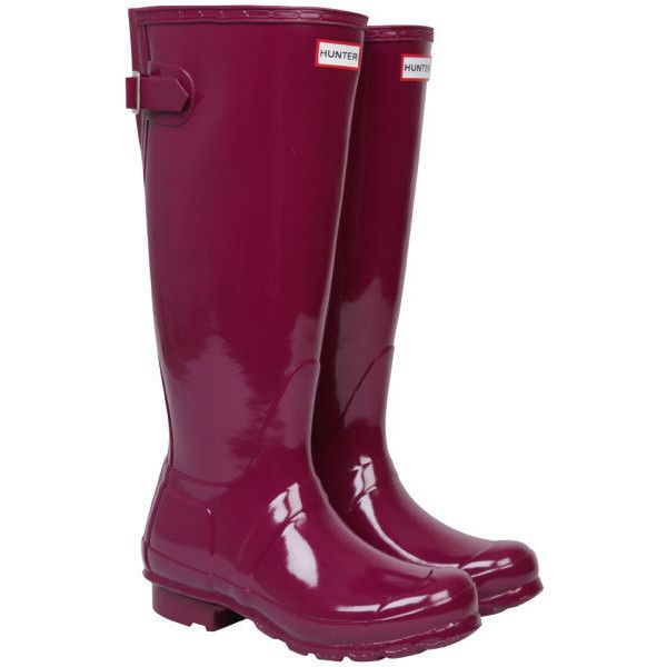 Hunter Women's Original Back Adjustable Gloss Wellington Boots (110 CAD) ❤ liked on Polyvore featuring shoes, boots, gumboots, rain boots, purple, shine boots, shiny boots, purple shoes and wellies shoes