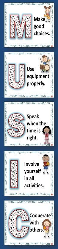 SIX Music Class Rules POSTERS for the music classroom -There is one poster/page for each letter in the work MUSIC and one rule per letter!! ♫ CLICK through to preview or repin for later!! ♫ More