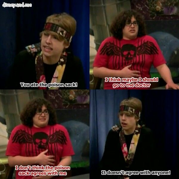 Disney Channel The Suite Life On Deck. Cody Martin and Woody Fink. Cole Sprouse. Poison sack, never agrees with anyone.