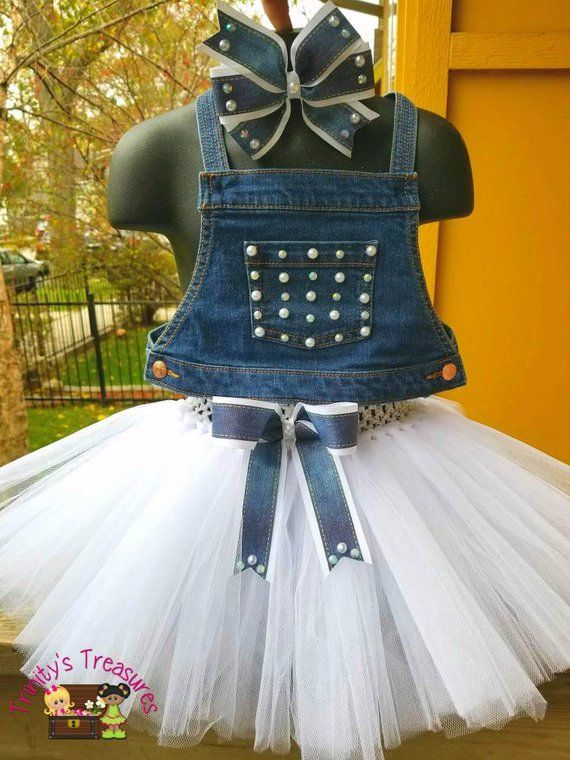 Denim Birthday Outfit Overall Tutu Diamonds Pearls Outfit