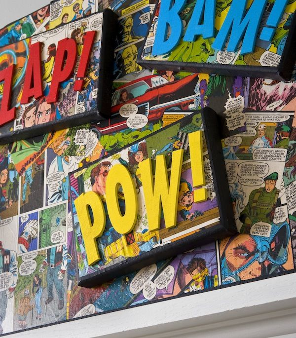 Decorate a canvas with comic books and Mod Podge  //  http://modpodgerocksblog.com/2013/10/comic-book-craft-diy-superhero-canvas.html