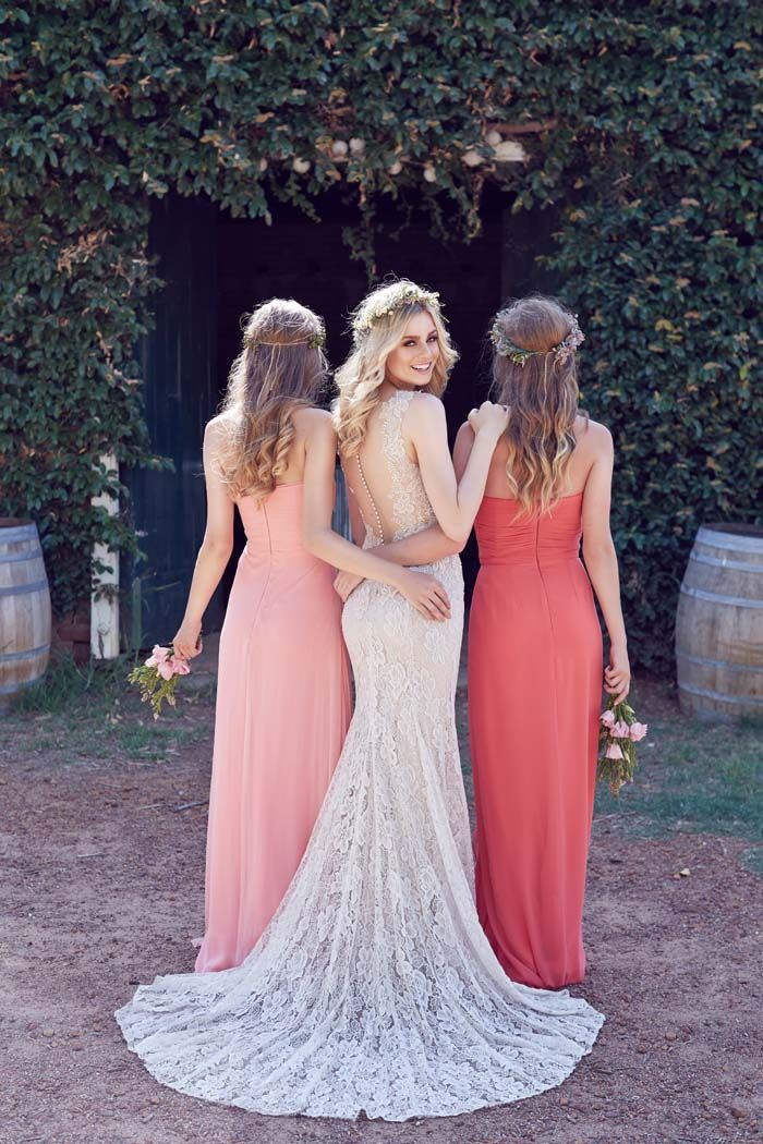 I love love  love everything about this. The wedding dress, the bridal look, the bridesmaids dress, and accessories. Only would change colors to either shades of more of an orange coral, or monochromatic  blues/slate blue & the bridesmaids bouquets. REGARDLESS I STILL LOVVVE THIS!!!! [Source, tumblr:Everything That Sparkles. ]
