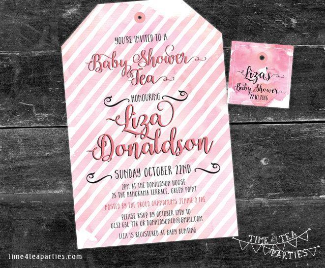 Watercolour stripes Tea Bag Tea Party Invitation - Bridal Tea - Baby Shower - Kitchen Tea - High Tea - Birthday Tea party. Printable. by Time4TeaParties on Etsy