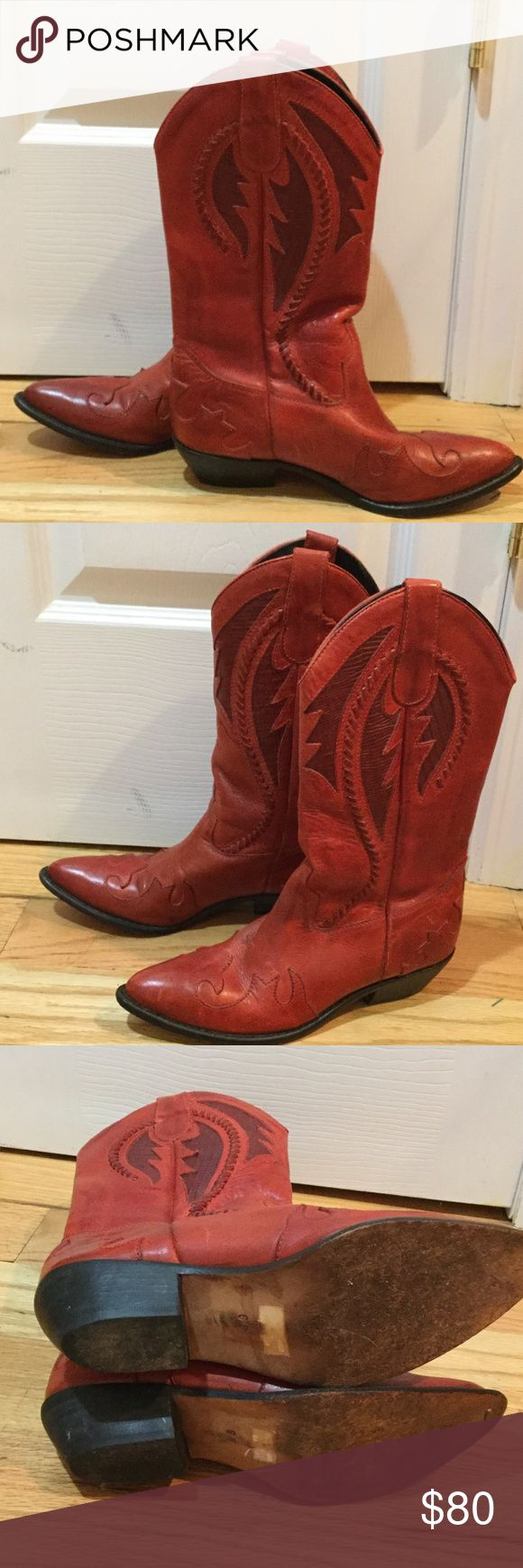 Wild Pair Red Leather Boots Great condition Red Leather Boots by Wild Pair. Beautiful deep red color.  Stitching detail on the boot is in mint condition.  Classic cowboy boot for any cowgirl. Wild Pair Shoes Heeled Boots