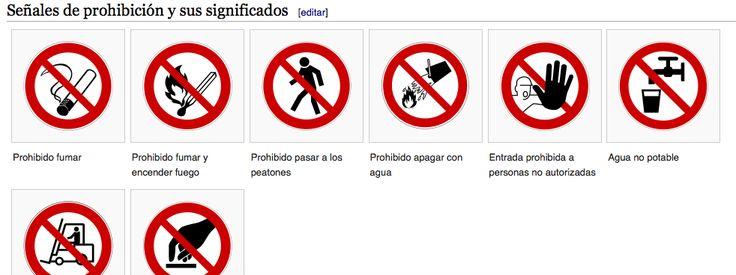 Señales de prohibición. http://previpedia.es/Señal_de_prohibición