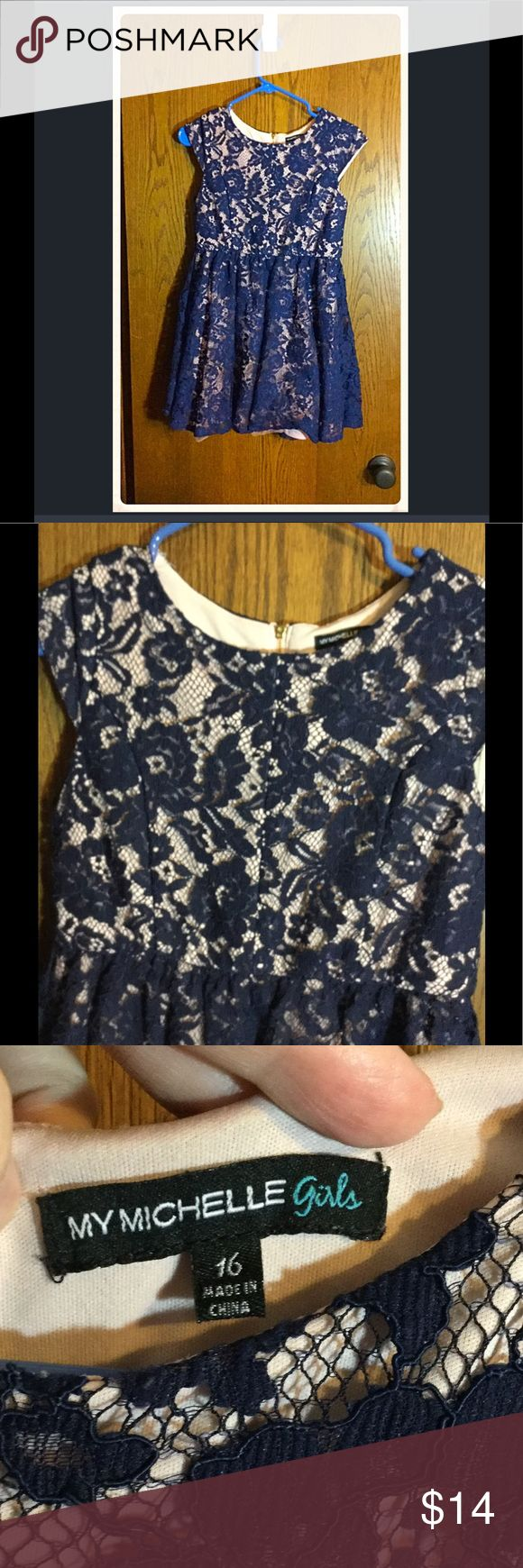 🎈BOGO 1/2🎈 Girls Navy Lace Overlay Dress Lined with tan material with a navy lace overlay. EUC. No rips or stains. Beautiful. Like new! My Michelle Dresses Formal