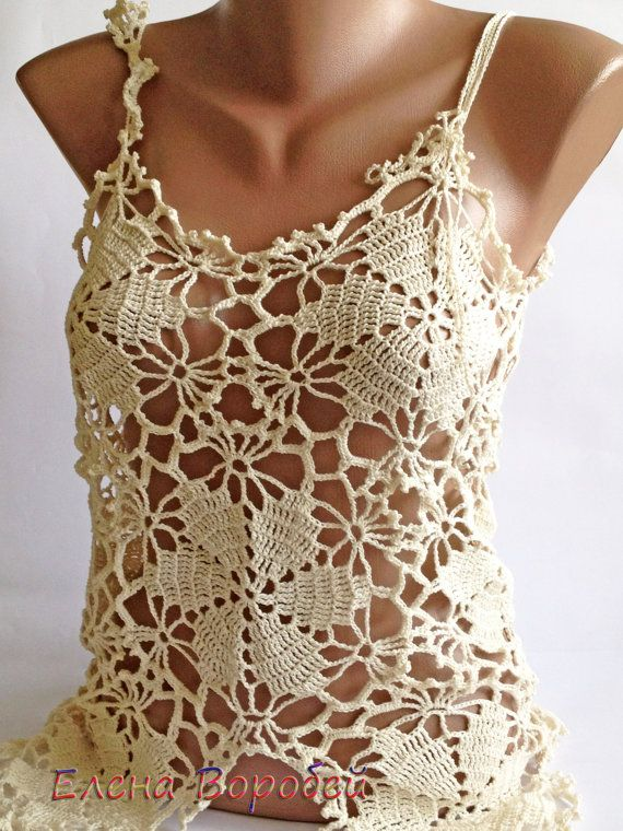 Sale Sexy lace top/ Crochet Top/ Boho Chick Cream by ElenaVorobey