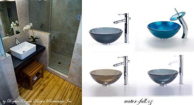 Skleněná umyvadla na desku http://www.waterfall-products.cz/672-umyvadlove-sety a http://www.water-fall.cz/cz/koupelnove-baterie-luxusni-kuchynske/umyvadla-sety/