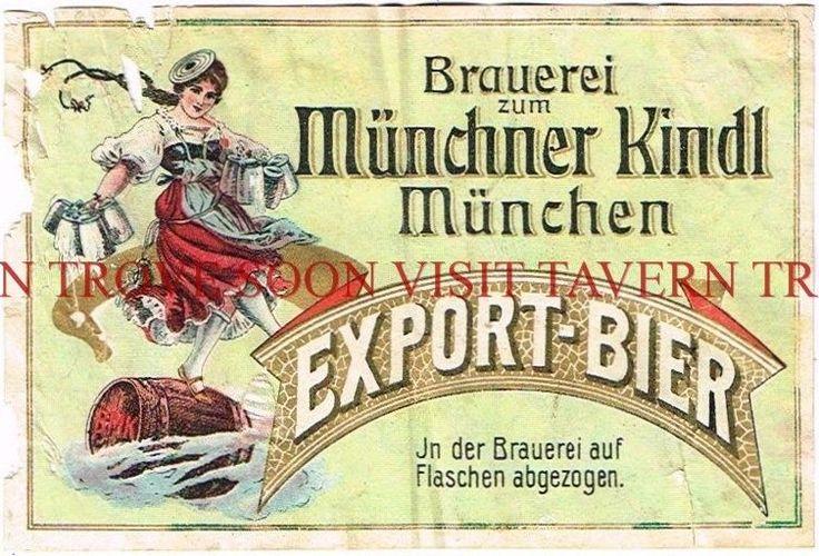 1900s Germany Munchner Kindl Export Bier Label Set Stephens Coll. TavernTrove