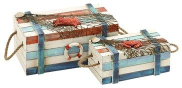 Nautical Wood Storage Boxes Rope Marine Accents Nets Shells Crabs Decor Set of 2 traditional-decorative-boxes