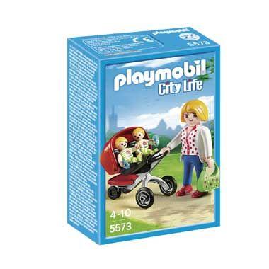 PLAYMOBIL City Life tweeling kinderwagen 5573  De kersverse moeder gaat lekker wandelen met haar tweeling in de kinderwagen. Met 3 Playmobil City Life figuren en leuke accessoires. PLAYMOBIL-nr. 5573  EUR 9.99  Meer informatie