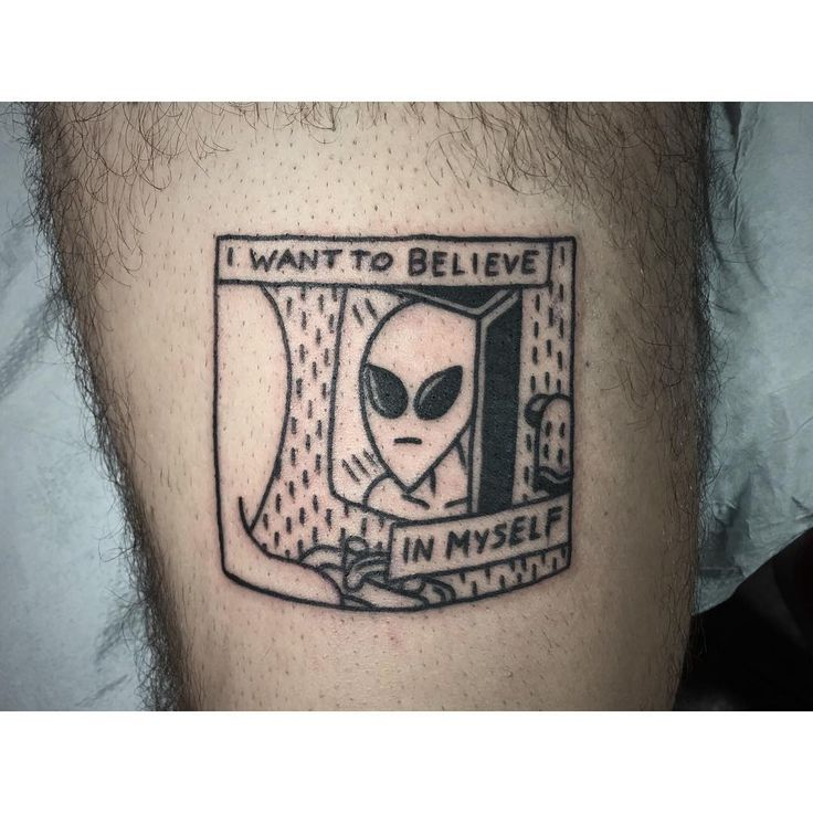 """""""I want to believe in myself #tattoo #aliens #blackwork (redrawn from an image my client brought)"""""""