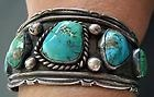 VNT OLD PAWN NAVAJO SS TURQUOISE CUFF BRACELET CWE APACHE CARLOS WHITE EAGLE?