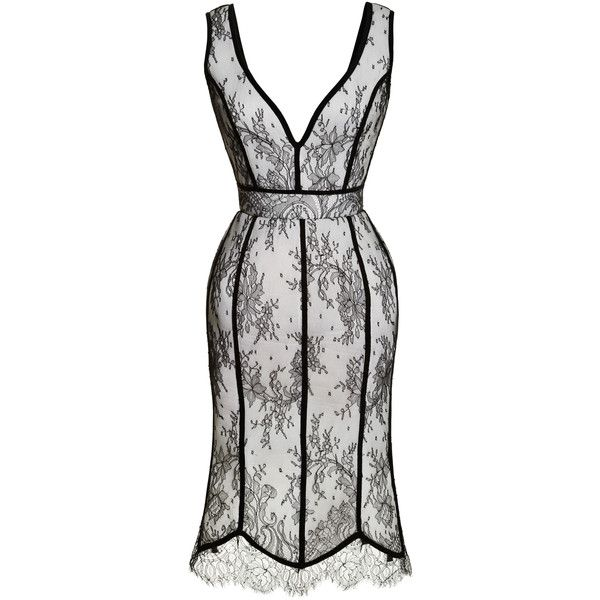 Natasha Zinko Tulip Dress With Lace Overlay ($2,165) ❤ liked on Polyvore featuring dresses, black v neck dress, lace cocktail dress, white sleeveless dress, black cocktail dresses and black white dress