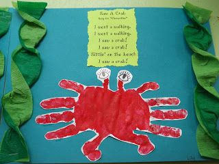 "The Stuff We Do ~ Made the handprint crab using streamers for the ""seaweed"". ~ Sherry & Melissa"