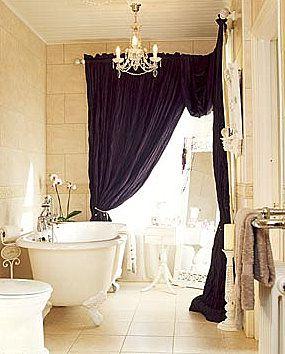drapery in the bathroom: Bathroom Interior, Modern Bathroom Design, Bath Tubs, Beauty Bathroom, Bathtubs, Decoration Bathroom, Showers Curtains, Design Bathroom, Bathroom Decoration