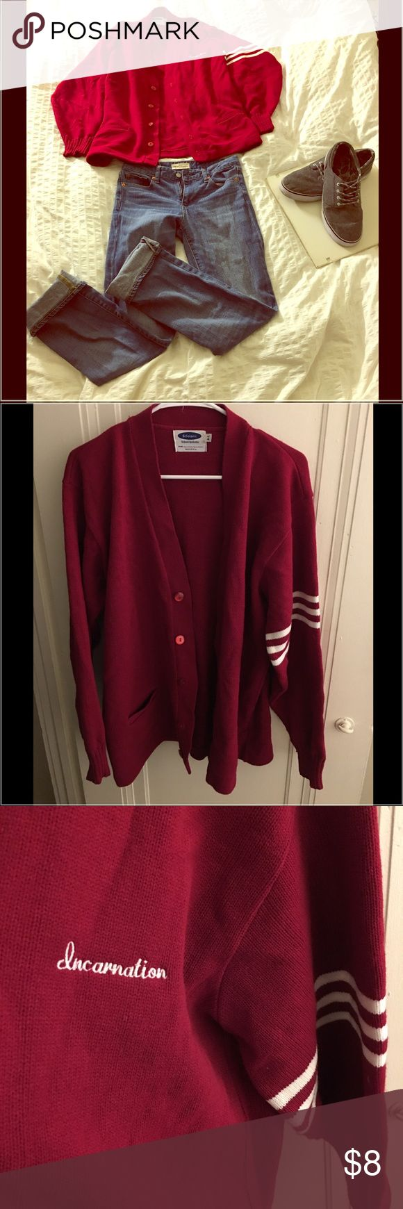"""Varsity sweater Heavy varsity sweater with vintage style stripes on left arm. Perfect for and """"Boyfriend"""" inspired outfit. Sweaters Cardigans"""