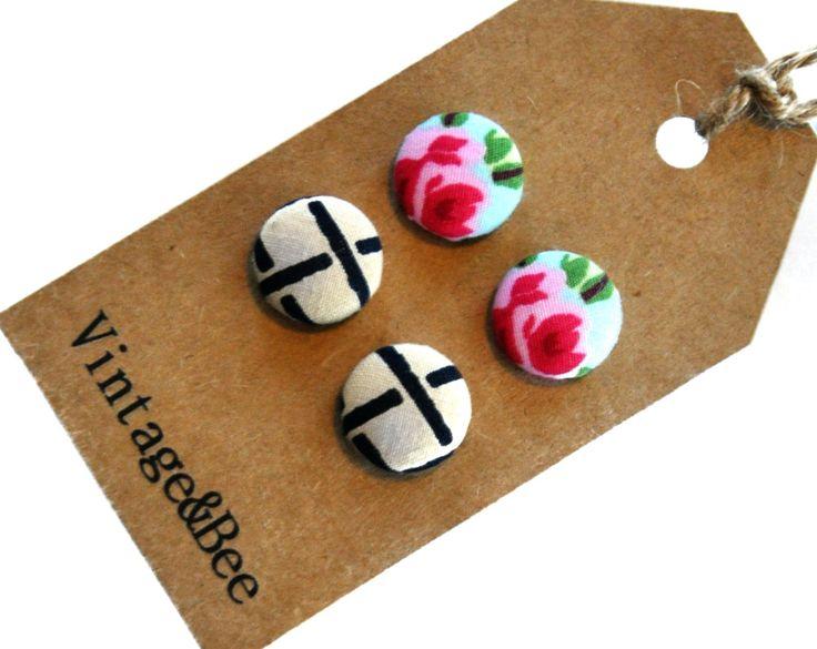 Retro Floral & Geometric Earring Set by VintageandBee on Etsy, $15.00