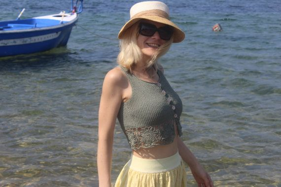 Mint Green Crop Top  Summer Crop Top  Lace Knit by ManibusFacta