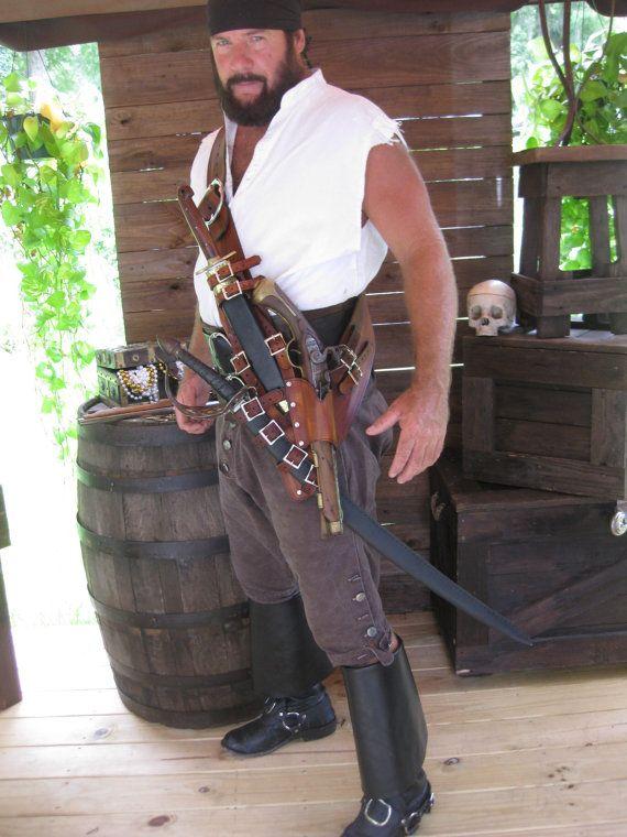 Pistolet de Pirate en cuir marron 3 pouces et épée baudrier avec poignard grenouille