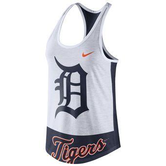 Women's Detroit Tigers Nike White Tri-Blend Logo Tank Top