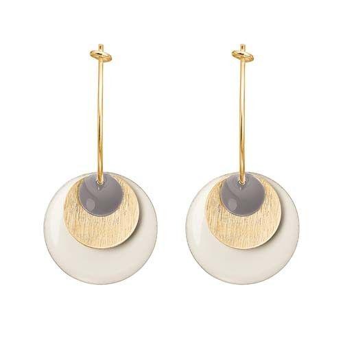 ENAMEL Copenhagen drops earring coin, dusty purple, gold, white