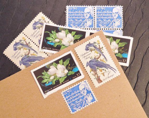 Magnolia... Bleu... Timbres-poste inutilisés du Vintage... post 5 lettres
