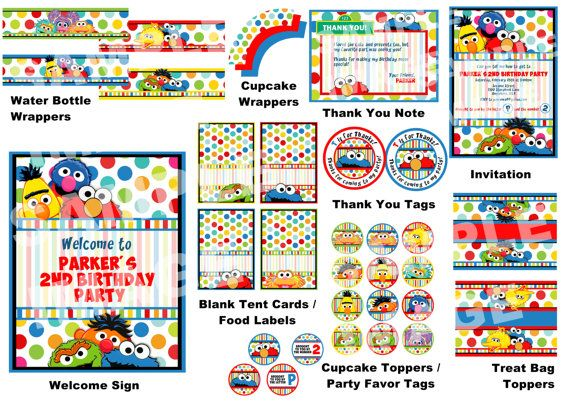 Sesame Street Party Package - Elmo Cookie Monster Big Bird Oscar the Grouch Grover Bert Ernie Abby Cadabby Zoe - Polka Dot Party Printable