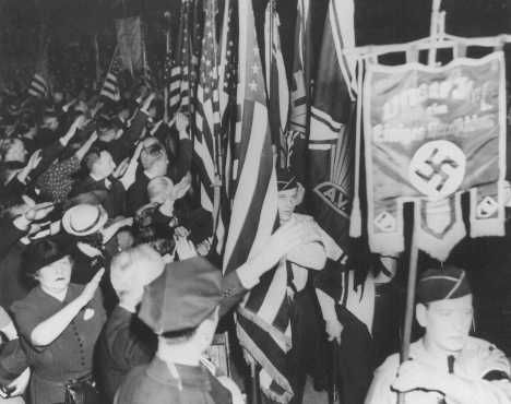 Nazi Americans   Pro-Nazi German American Bund rally at Madison Square Garden. New York, United States, February 20, 1939