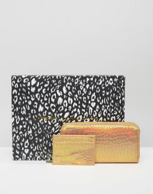 French Connection   French Connection Boxed Wallet And Card Holder Gift Set In Metallic Mock Croc