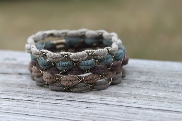 Tribal Bangle Bracelet Nature Child - Stackable. Recycled Fabric Wire Wrapped. on Luulla by murtsss