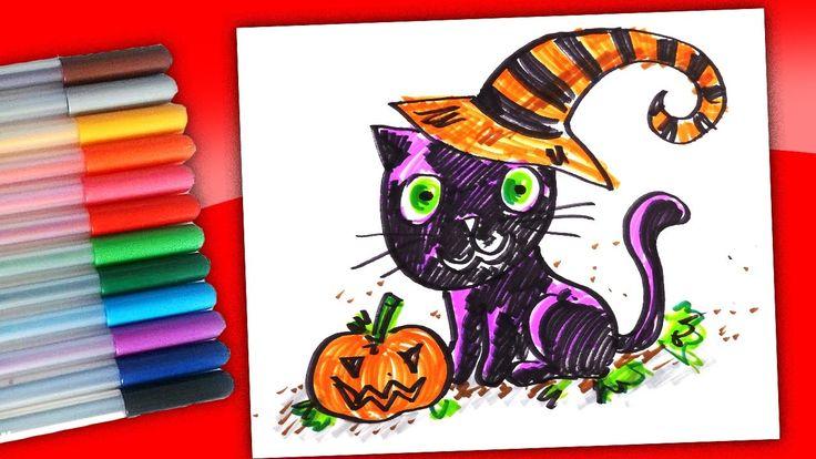 Кошка на Хэллоуин рисуем фломастерами / Рисунки на Хэллоуин