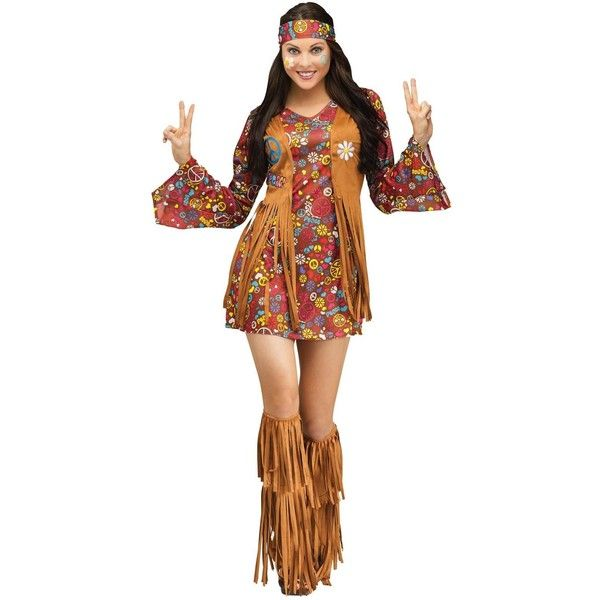 Peace and Love Hippie Costume For Adults ($47) ❤ liked on Polyvore featuring costumes, halloween costumes, adult flower costume, colorful halloween costumes, flower child, flower child hippie costume and hippy costume