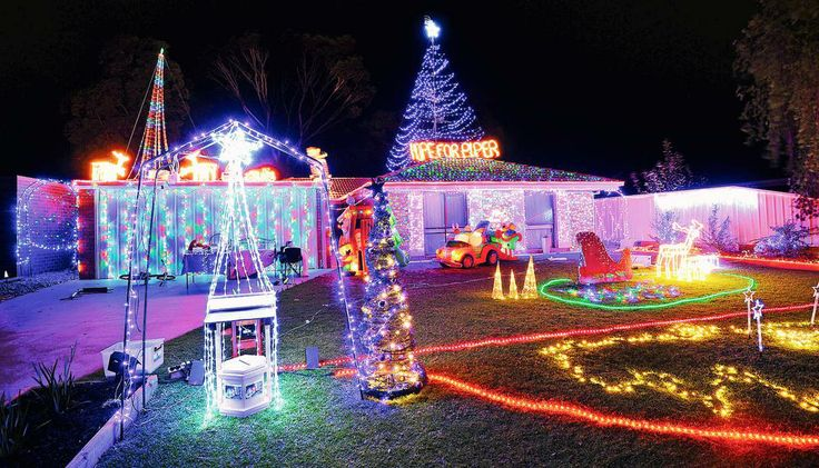Christmas hope: Mildura's 28 Acacia Drive is the second place-winner in the Sunraysia Daily Christmas Lights Spectacular. The stunning display by last year's winners is raising money for the family of one of Mildura's 'Purple Princesses' Piper Pain.