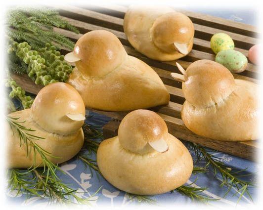 use rhodes pre-made dough.. very cute baby duck dinner rolls!