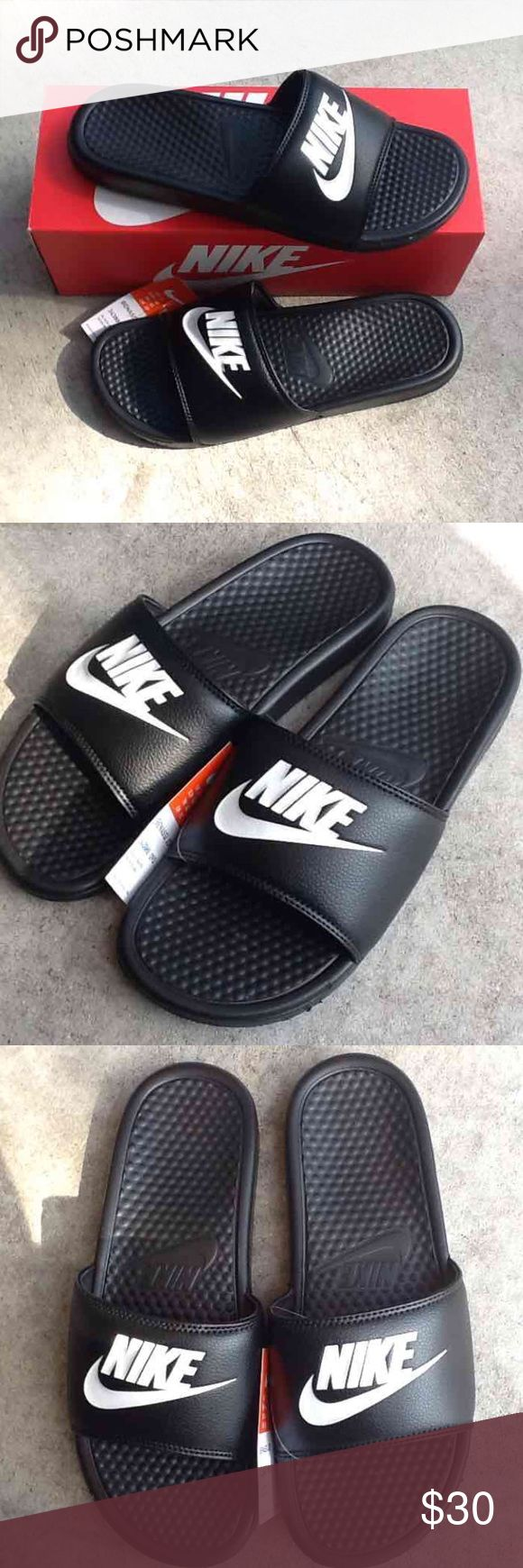 sz 13 NIKE BENASSI SLIDE JUST DO IT Authentic; one pair of Nike men's sandals (Size 13) Synthetic leather upper Phylon midsole Men's athletic footwear from Finish Line Synthetic upper; Rubber outsole Brand new in box. Never been used.  Not responsible for any damage done by shipping. Free cosmetic sample gift with the purchase of $20 and over. For less on merc Nike Shoes Sandals & Flip-Flops