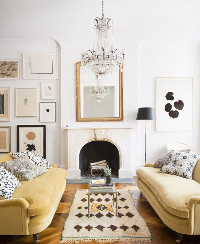 Ali-Cayne-NYC-townhouse-home-Greenwich-Village-yellow-velvet-sofa-couches-pillows-moroccan-rug