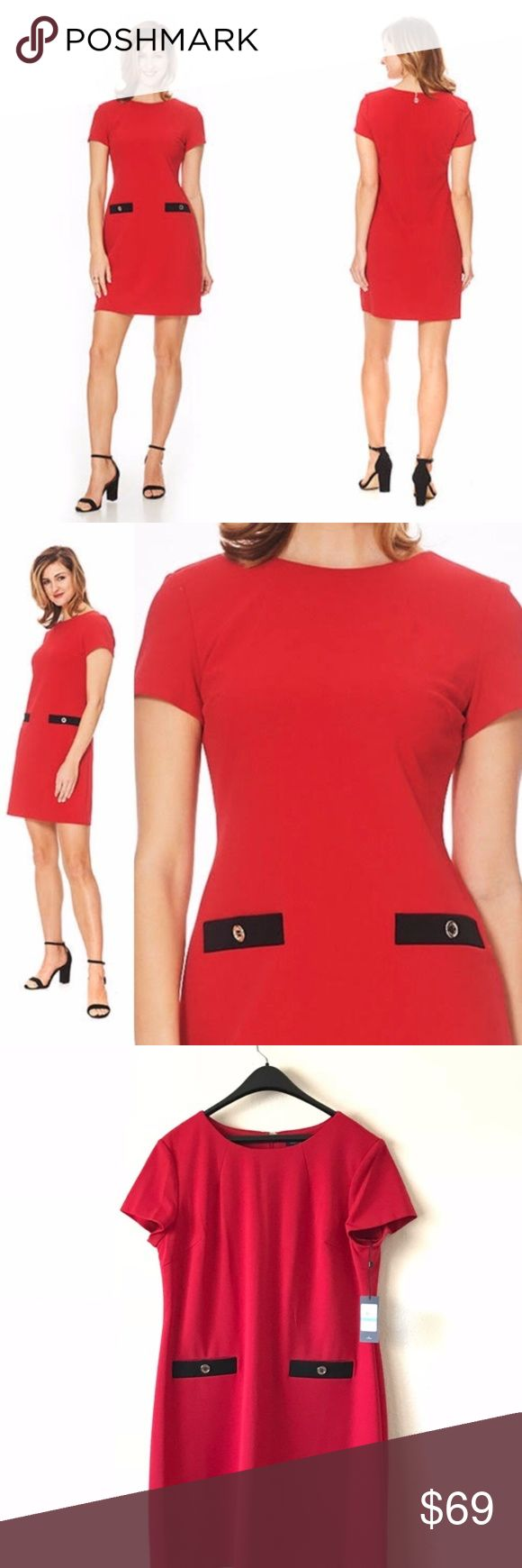 "Tommy Hilfiger Valentine's Day Shift Dress Red Perfect for valentine's day Versatile and chic, this Tommy Hilfiger dress is detailed with shiny decorative buttons for at-the-office polish. Hidden back Signature zipper with hook-and-eye closure Hits above knee Jewel neckline; shift silhouette Two non-functional pockets with decorative buttons Color : Scarlet Red / Black Polyester/spandex Approximately Measurements  Shoulder to shoulder : 17"" Pit to pit : 22"" Waist : 40"" Hips : 46"" Hem : 52""…"
